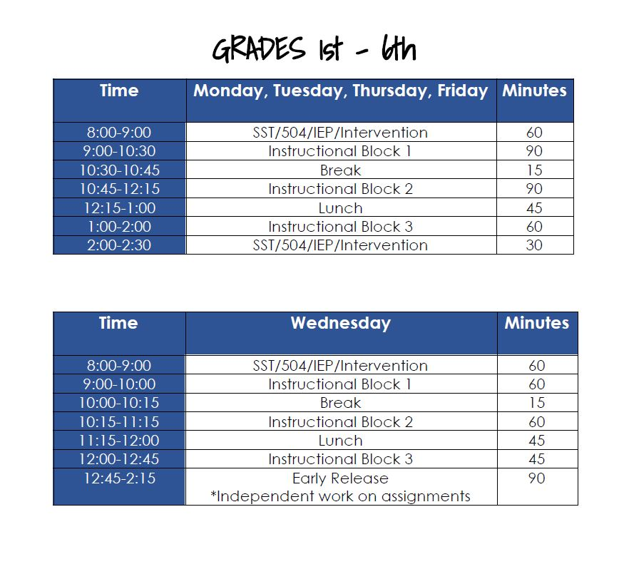 1st-6th Virtual Learning Schedule