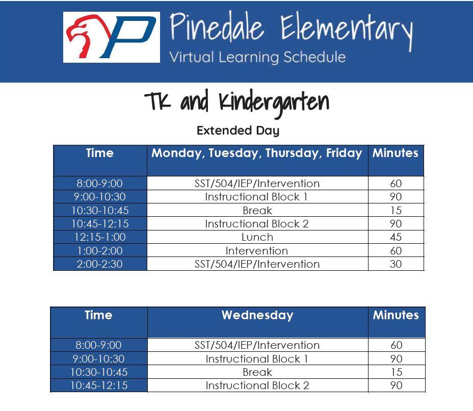 TK & Kinder Virtual Learning Schedule